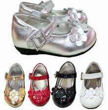 BABY GIRLS KIDS CHILDRENS PARTY DRESS WEDDING PATENT VELCRO SHOES SIZE