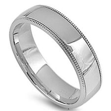 Stainless Steel Shiny Romantic Elegant Classic Wedding Love Band Ring Sizes 6-14