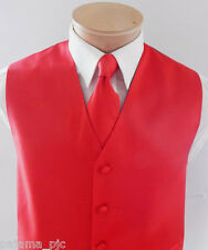 MEN'S Red XS - 6XL Solid Tuxedo Suit Dress Vest Waistcoat & Necktie Wedding Prom