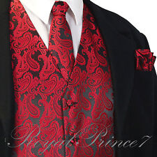 BLACK RED Paisley Tuxedo Suit Dress Vest Waistcoat & Neck tie and Pocket Square