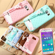 Cute Scent Candy Rabbit Robot Rope Soft Silicone Rubber Case Cover For Samsung