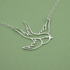 Handmade Sterling Silver Swallow Bird Necklace - 925 silver bird jewelry