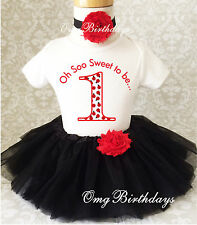 Little Red Ladybug Lady bug 1st First Birthday Tutu Outfit Shirt Set Party