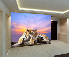 Tiger Live Wildlife 3D Full Wall Mural Large Print Wallpaper Home Decal Dec Kids