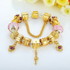 Luxury European Gold Plated Charm Bracelets With Murano Beads DIY For Women GIFT