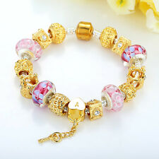 DIY Gold Plated European Charm Bracelets With Murano Beads Glass For Women GIFT