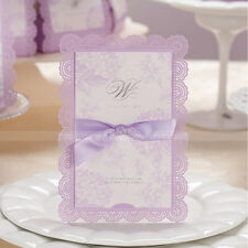 Laser Cut Romantic Lilac Wedding Invitations Cards With Bow and Envelopes, Seals