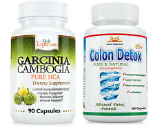 BEST NO CALCIUM GARCINIA  EXT. +  COLON Cleanse/DETOX for WEIGHT LOSS/Digestion