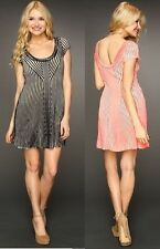 "Free People ""Hot Off the Press"" Striped Fit & Flare Dress - MSRP $128"