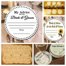 Circle My advice cards for Bride & Groom wedding. 50-100 with your text!