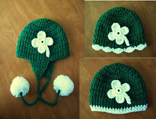 U CHOOSE! Crochet BABY girl boy ST PATRICK hat beanie MADE IN USA photo prop!