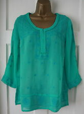 RRP £55 New Monsoon Green Jade VTG Style Summer Tunic Shirt Blouse Top Sz8-20