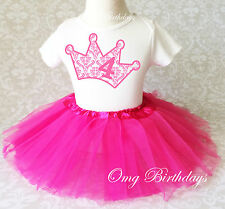 Pink Princess Damask Crown age 4 Girl 4th Fourth Birthday Tutu Outfit Shirt Set