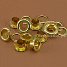 New Gold 100 Sets Size 4/5/6mm Solid Brass Eyelets w/Washer Grommets Free Ship