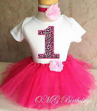 Cheetah Pink Number Age 1  Baby Girl 1st First Birthday Tutu Outfit Shirt Set