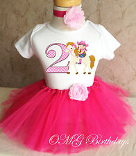 Cowgirl Pink cow girl Horse 2nd Second Girl Birthday Shirt Tutu Outfit Set Party