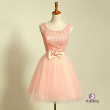 Flora Lace Empire Ball Gown Bridesmaid Dress Short Prom Party Dress With Bow-Tie