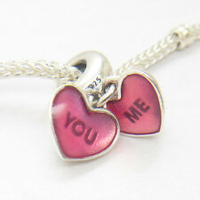 NEW Silver PINK YOU & ME DANGLE CHARM Bead