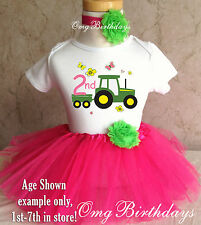 Tractor Farm Machine Pink Green 2nd Second Birthday Shirt Tutu Outfit Set Party