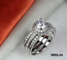 925 STERLING SILVER 3 RING 1.7CT CZ ROUND CUT ENGAGEMENT RING WEDDING RING SET
