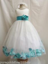 IVORY TEAL GREEN RED PINK BROWN  ROSE PETAL PAGEANT WEDDING FLOWER GIRL DRESS