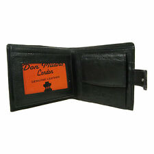 Mens Soft Black Real Leather Credit Card Holder/ID & Coin Section Wallet 126