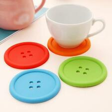 Durable Kitchen Bar Cup Bottle Pad Mat Button Shape Silicone Insulation Coaster