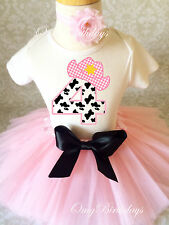Cowgirl Cow Print Light pink Girl 4th Birthday Tutu Outfit Shirt Set Party dress