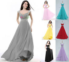 Long Chiffon Evening Formal Party Prom Ball Gown Bridesmaid Dress IN UK Stock