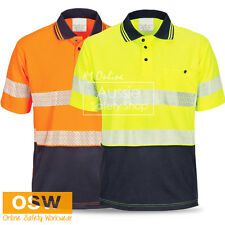 HI VIS SEGMENTED REFLECTIVE COTTON BACKED COOL DRY SOFT FEEL POLO SAFETY SHIRTS