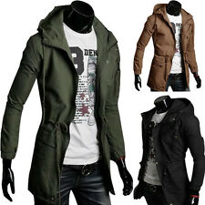 Cheap Men's Trench Long Military Coats Spring Thin Coats Hooded Jackets Outwear