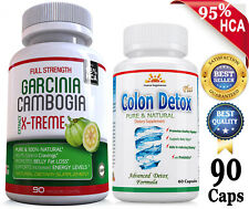 180 Caps Strong 80% HCA GARCINIA+COLON DETOX  Weight Loss Diet Pills FAT BURNER