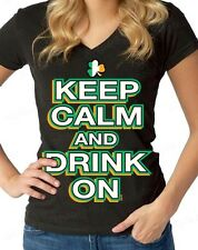 Keep Calm and Drink On  Women's V-Neck T-shirt funny St. Patrick's Day Shirts