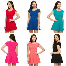 Casual Round Neck Short Sleeve Pleated Skater Slim Flared Cocktail Mini Dress