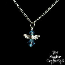 "☆7.5"" BIRTHSTONE GUARDIAN ANGEL CRYSTAL CHARM CHAIN BRACELET SILVER PLATE GIFT☆"