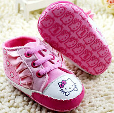 New HELLO KITTY Soft Sole Baby Girl Pink Ruffle Bootie Crib Shoes. Age 0-18 Mths