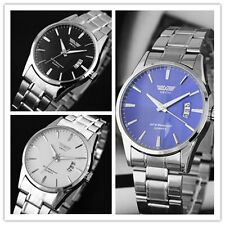 Calendar  Mens Luxury Stainless Steel Round Dial Quartz Sport Wrist Watch