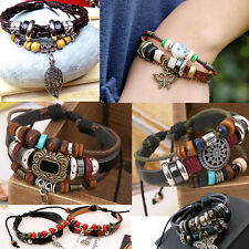 Retro Cuff Style Multilayer PU Leather Beaded Wrap Charms Bracelet Chain Nice