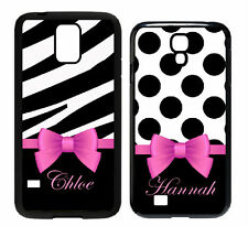 Personalized B&W Damask Pink Name Bow Samsung Galaxy S3/S4/S5 Note 3/4 Case M24