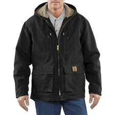 New Carhartt Sandstone Jackson Hooded Coat Jacket Sherpa Lined C95 Brown/Black