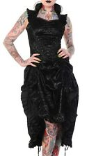 Banned Victorian Flocked Black Party Dress Steampunk Vintage Corset Lase Back