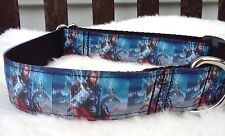 "Super Hero Dog Collar 1"" Comics Avengers inspired Ribbon Collar Leash Martingale"
