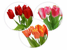 56 Tulips Silk Artificial Wedding Flowers for Bouquets Arrangements - 4 bushes