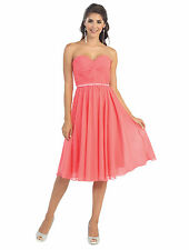 New Short Prom Strapless Pleated Plus Size Chiffon Formal Dress Bridesmaids
