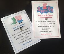 PEPPA, GEORGE PIG PERSONALISED BIRTHDAY THANK YOU CARD INVITE, PARTY BAG CHARM