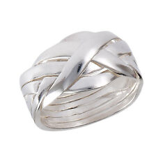 New 6 Piece Interlocking .925 Sterling Silver Puzzle Band Ring  - Sizes 6-12