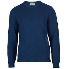 Archer - 100% Pure Lambswool - Mens Indigo Blue Jumper Sweater - Made in England