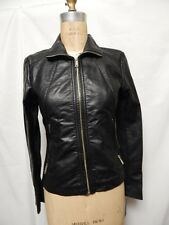 Kenneth Cole Reaction Faux Leather Zippered Cuff Jacket Black NWT