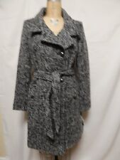 Tahari Izzy Assymetric Military Wool blend Trench Coat 12 Blk/wht New with Tags