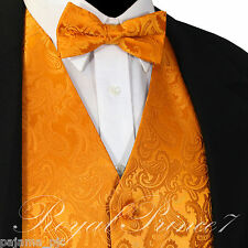 ORANGE XS - 6XL Paisley Tuxedo Suit Dress Vest Waistcoat & Bowtie Wedding Prom
